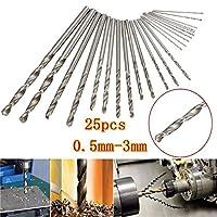 25pcs HSSマイクロツイストドリルビットセット0.5ミリメートル、3.0ミリメートルストレートシャンクPCBツイストドリルビット