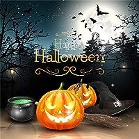 Qinunipoto 背景布 ハロウィン happy halloween 撮影用 写真撮影用 写真の背景 夜 パンプキンライト コウモリ 枯れ木 丸い月 背景幕 写真 商品/人物撮影 カスタマイズ可能な背景 小道具 ビニール 1.8x1.8m