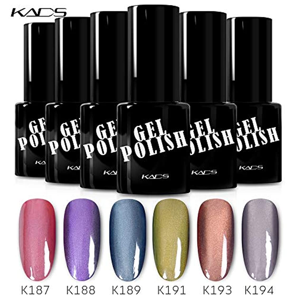 威する変動する姪KADS カラージェル 6色入り キャッツアイジェルネイル グリーン/ピンク/グレー カラーポリッシュ UV/LED対応 艶長持ち
