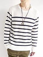 (モノマート) MONO-MART ラーベン編み ニット セーター プルオーバー 7ゲージ クルーネック 長袖 メンズ