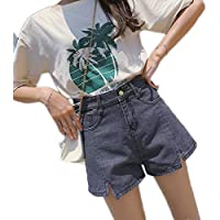 LHY- Summer Waist Loose A Word Wide Leg Denim Shorts Female Korean Version Wild Large Size Hot Pants Tide Cool (Color : Gray, Size : 4XL)