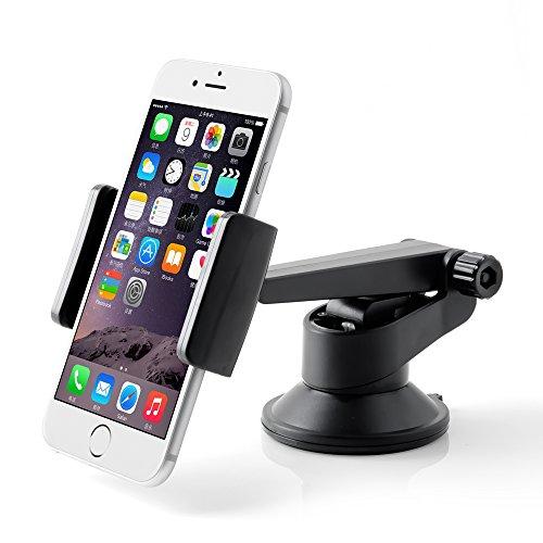 車載ホルダー 粘着ゲル吸盤式 360角度調節可能 横幅調節可能 クリップ式 強力吸着パッド 落下防止装着 iphone 7/iphone 7plus/iPhone 6/6S Plus/SE/5S/5C Samsung Galaxy S7/S6/S5 xperia Z4/LG G4/HTC M9などのスマホに対応