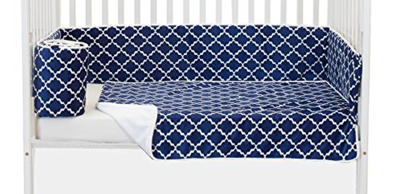 Baby Doll Bedding Lattice Minky Mini Crib/Port-a-Crib Bedding, Navy/White [並行輸入品]