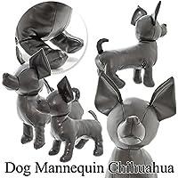 ドッグマネキン チワワ(ブラック)2サイズ/レザー/トルソー/ぬいぐるみ/ディスプレイ小型犬【S/Mサイズ】 (Mサイズ)