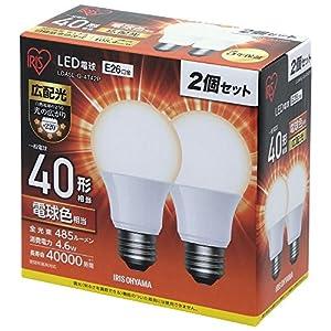 アイリスオーヤマ LED電球 口金直径26mm 40W形相当 電球色 広配光タイプ 2個セット 密閉器具対応 LDA5L-G-4T42P