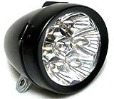 自転車 ライト 7 LED 砲弾型 電池式 クラシック レトロ デザイン 簡単取付 選べる2色 (ブラック)