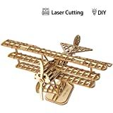 ROBOTIME 3D Airplane Wooden Jigsaws Kit Wooden Puzzles DIY Hand Craft Mechanical Toy Gift for Kids Teens Adults