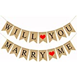 Will YOU MARRY ME バナー 黄麻布 バンティング ガーランド バレンタインデー 結婚式 ブライダルシャワー 結婚式 プロポーズ 婚約パーティー用品