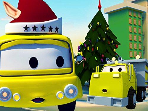建設チーム: ダンプトラック、クレーン車とショベルカーがカーシティーにクリスマスツリー & ラッピングマシーンを建てる