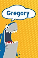 """Gregory: Personalized Shark Draw and Write Diary journal notebook featuring 120 pages 6""""x9"""""""