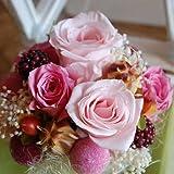 パラボッセオリジナル プリザーブドフラワー テラリウム ピンク 横幅12cmx12cmx高さ20cm preserved flowers