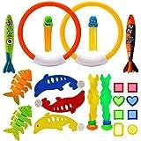 AIEX 21 PCS 水中プールダイビングおもちゃプール玩具セット付きダイビングリング/フィッシュボーン/タコ/魚雷/海賊の宝石/イルカ/水生植物