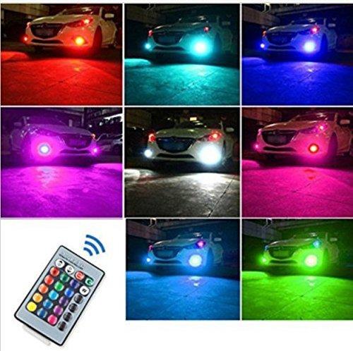 『HB4 9006 LED フォグ ランプ RGB マルチカラー(レッド ブルー グリーン イエロー ピンク パープル) 5050SMD 27チップ 16色切替 点灯パターン多数 2個セット リモコン付き イベント用 (HB4)』の2枚目の画像