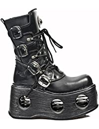 New Rock Shoes - Unisex Leather Mid-Calf Boots with Neptune Spring Soles