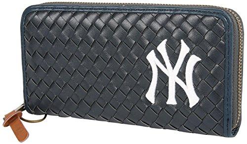 NEWYORK YANKEES(ニューヨークヤンキース) 財布 ウォレット 合皮 長財布 編み込み メッシュ ロゴ 刺繡 サイフ メンズ レディース ユニセックス ネイビー