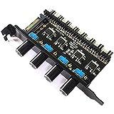Moligh doll PC8チャンネルファンハブ4ノブ冷却ファン速度コントローラー12Vファン制御によるCPUケースHdd Vga PwmファンPciブラケットパワー用