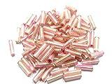 【AFP】ガラスビーズ 竹型 大 約5mm 各色約10g 全5色 bz-takel (ピンク)