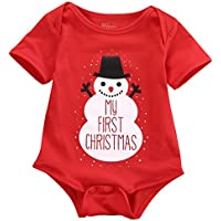 Newborn Baby Kids Snowmen My First Christmas Romper Jumpsuit Outfits Costume