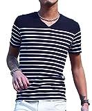 ジョーカーセレクト(JOKER Select) Tシャツ メンズ 半袖Tシャツ Vネック ボーダー ウィンドペン チェック カットソー M ネイビー/ホワイト(ボーダー)