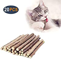AIDIYA 猫歯ぎしり棒 猫噛みおもちゃ またたびの木 またたびトイ 噛むスティック 天然安全 興奮した猫 (20本)