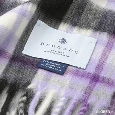 Lambswool Angora Tartan Scarf: Black / Lavender