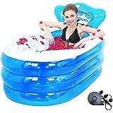 膨脹可能なプール、厚くなった大人の浴槽の折る風呂樽の子供のおもちゃのプール2種類の指定130 * 75cm、160 * 90cm (Color : Blue, Size : L)