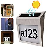 Solar House Number Plaque Light LED Address Sign Door Number Plate 0-9 Letter Tags Outdoor Auto Light Sensor Waterproof Wireless Anti-Corrosion Plaque Lamp for Gate Fence Wall Yard Street Park