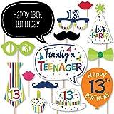 Big Dot of Happiness 13歳の誕生日 - 陽気な誕生日 - カラフルな30歳の誕生日パーティー写真ブース小道具キット - 20個