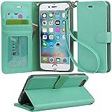 【Arae】iPhone6s Plus ケース / iPhone6 Plus ケース 手帳型 スタンド ストラップ カード マグネット 財布型 落下防止 衝撃吸収 おしゃれ おすすめ アイフォン6s プラス / アイフォン6 プラス ケース カバー(グリーン)