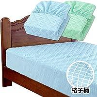 メーカー直販 ベッドパッド ボックスシーツ 一体型 セミダブル 120×200×30cm 先染め 綿しじら 綿100% (ブルー)