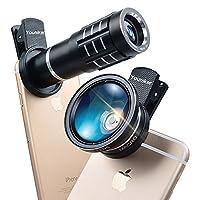 Youniker カメラレンズキット 3 IN 1クリップ式 スマホレンズ (12Xスマホ用望遠レンズ+ 0.45X広角レンズ+12.5Xマクロレンズ) 挟むだけで簡単装 自撮りレンズ iPhone 7/6S Plus/Samsung Galaxy S7 Edge/S6 Edge/Sony、Android スマートフォン及びほとんどのスマートフォンに適用 iPad タブレットPC対応 花見用 旅行用 (黑)