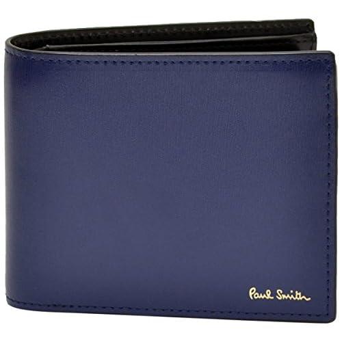 ポールスミス Paul Smith 正規品 本革 シティエンボス 二つ折り財布 ブルー ショップバッグ付 ウォレット (ブルー)