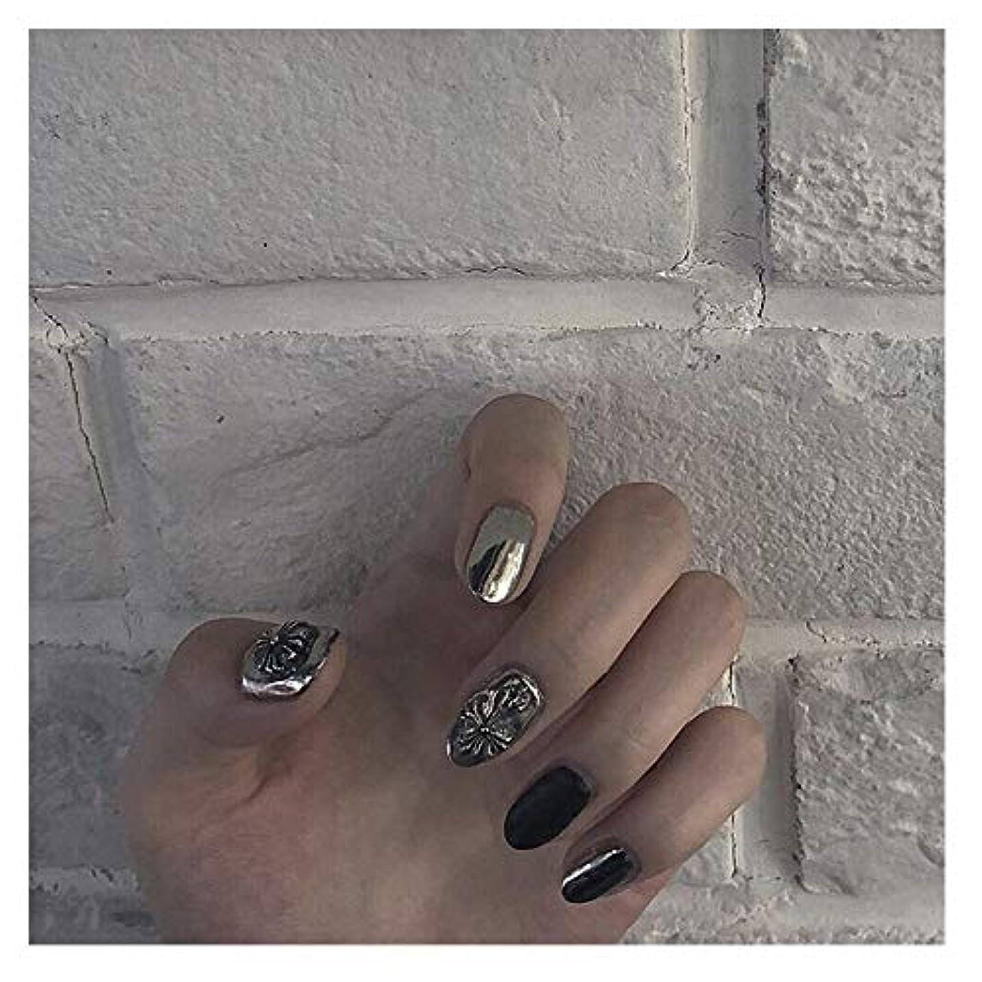 BOBIDYEE シルバークロスゴススタイルグルーフェイクネイルズファッション単一製品アクセサリーラウンドネイルズ光沢のあるシルバー+ブラック (色 : 24 pieces)