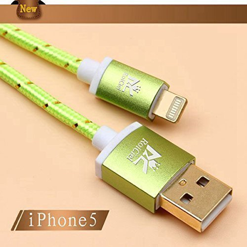 (Roiciel)ロイシエル 高耐久 急速充電 アルミ端子&金属シェル&ナイロン編みライトニングUSBケーブルiphoneX/ iphone8/iPhone 7 / iPhone 7PLUS / iPhoneSE/6S/6SPlus/6/6Plus/5s/5c/5, iPad Air3/Air2/Air/Mini/Mini2/Mini3/Mini4用 充電・データ転送LightningUSBケーブル (ナイロン編み1.5m,グリーン)