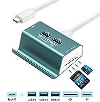 gzcrdz USB 3.0カードリーダー+ 3- Port USB 3.0ハブ+電話ホルダー、スーパー速度multi-in-1アルミ- C 3.0コンボ、SD / TF / MicroSDカードリーダーハブfor MacBook /ラップトップ/タブレット/ /よりCデバイス H-509