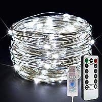 FEELCAT イルミネーションライト10M100球 USB式 LEDストリングライト リモコン付 8パターン IP67防水 フェアリーライト クリスマス 結婚式 パーティー 屋内屋外 飾りライト ガーデンライト 省エネ ワイヤーライト (ホワイト)