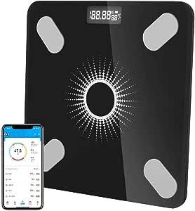 太陽光充電 スマート 体組成計 体重計 スマホ連動 体脂肪計 Bluetooth対応 LCDデジタル表示 強化ガラス 高精度センサー