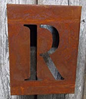 """Rustedメタル文字"""" R """"素朴な工業壁シェルフRusty装飾8"""" x 6"""" x 2.5"""""""