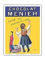 ショコラムニエ - 偽造を避けます - フランスのチョコレート会社 - ビンテージな広告ポスター によって作成された ファーミン・ブーセ c.1893 - アートポスター - 23cm x 31cm