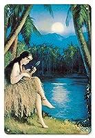 22cm x 30cmヴィンテージハワイアンティンサイン - フラ・ムーン - ハワイの少女は、満月の下でウクレレを再生します - ビンテージなピン留めされたカレンダーのページ によって作成された ルドルフ・インジェリー c.1930s