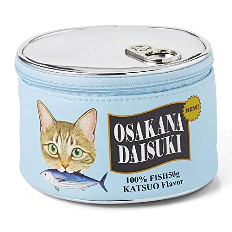 カストディアン解明プラカードYIGO 化粧ポーチ 猫 ねこ 魚の缶詰 設計 可愛い メイクポーチ バッグ 化粧バッグ 財布 大容量 化粧品収納 小物入れ おしゃれ ブルー