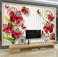 カスタム壁画壁紙3Dジュエリーダイヤモンド花蝶壁画リビングルームテレビの背景写真壁PapelデParede-250X175CM