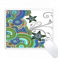 青、緑、およびオレンジ色の星の花が付いている円 PC Mouse Pad パソコン マウスパッド