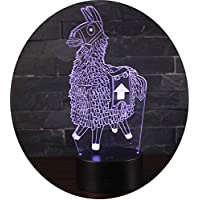 Fortnite 3Dビジュアル LEDナイトライト 平面ランプ 3D立体感 夜灯 スタンドライト 装飾ランプ 7種の色 USB給電 (Alpaca)