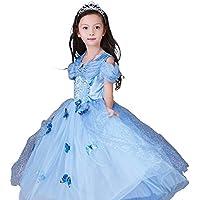 シンデレラドレス コスプレ5点セット 子供ドレス 蝶々飾り ティアラ ネックレス ステッキ ブルー (150cm)