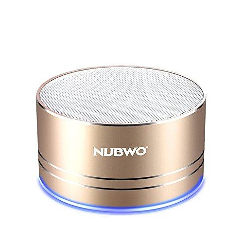 ブルートゥーススピーカー、Nubwoワイヤレス ポータブル Compact Bluetooth Speaker ミニスピーカー、5時間再生、ハンズフリーコール可能 高音質 3Wドライバー、AUXライン、TFカードスロット付き マイク内蔵 iPhone、iPod、iPad、Samsung、Sony、LGなどに対応 (ゴールド)