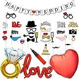 結婚式飾り付け フォトプロップス 赤い白い love風船 ダイヤバルーン Happy weddingバナー バレンタイン 披露宴 二次会 記念日 パーティーデコレーション