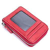 JAUROUXIYUJI Multifunction Genuine Leather Zipper Card Purse Business Card Holder for Unisex (Color : Red)