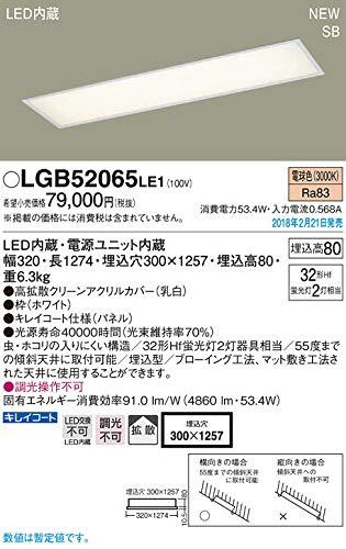 天井埋込型 LED(電球色) キッチンベースライト 浅型8H・高気密SB形・拡散タイプ Hf蛍光灯32形2灯器具相当 LGB52065 LE1