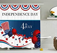 7月4日装飾シャワーカーテンby Ambesonne、Trippy犬with手ジェスチャAmerican日履歴パーティーArtfulグラフィック、ファブリックバスルーム装飾セットでフック、75インチ長、マルチ
